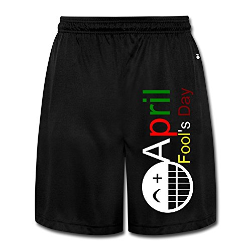 Yesher Geek April Fool's Day Short Workout Pants For Mens Black Size XL