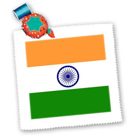 3dRose qs_158334_4 Flag of India Indian Saffron Orange White Green Central Blue Ashoka Chakra Law of Dharma Wheel Quilt Square, 12 by 12-Inch image