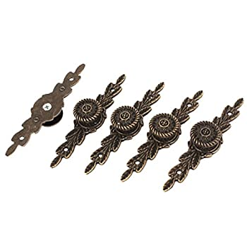 Hardware Drawer Door Classical Pull Handle Bronze Tone 5 Pcs w Screws