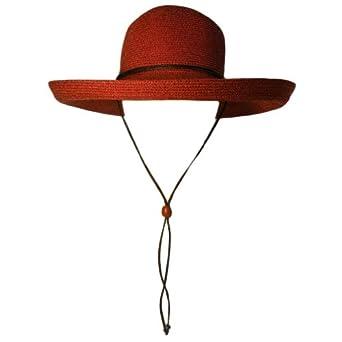 Luxury Divas Brick Red Wide Kettle Brimmed Floppy Hat W/Chin cord