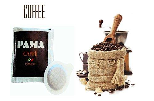 150 Cialde Caffè Pama Filtro carta Ese 44mm miscela gusto Classico Napoletano + Kit (150 bustine di zucchero + 150 bicchierini + 150 palettine)