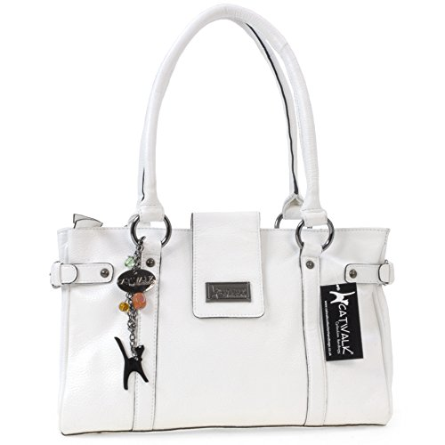Catwalk Collection Handbags  , Borsa con manici, Donna, Bianco (Weiß),