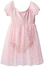 Capezio Big Girls\' Children\'s Collection Empire Waist Puff Sleeve Dress, Pink Flowers, Intermediate