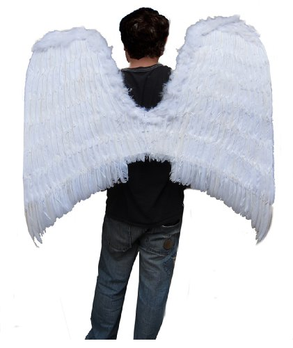 SACAS Super Large Beautiful White Feather Angel Wings w/ Halo