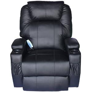Homcom Luxury Leather Recliner Sofa Chair Armchair Cinema Massage Chair Rocking Swivel Heated