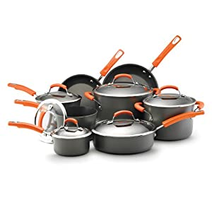 Best Cookware Set - Rachael Ray Hard Anodized II Nonstick Dishwasher Safe 14-Piece Cookware Set, Orange Review