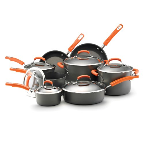 Rachael Ray Hard Anodized Nonstick Dishwasher Safe 14-Piece Cookware Set, Orange (Rachel Ray Cookware Gray compare prices)