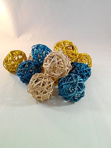 Decorative Spheres Blue Yellow And Cream Rattan Ball Vase Filler Ornament Decoration Bowl Filler By Wreaths For Door
