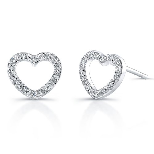 Sterling Silver Diamond Heart Earrings (1/10cttw*, JK, I2-I3)