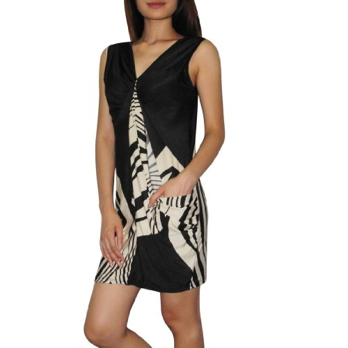 Women Thai Exotic Fashion Cute Stretchy Fitted Tunic Sleeveless Tank Dress - Size: M-L