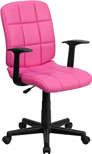 Mid-Back Pink Quilted Vinyl Swivel Task Chair with Nylon Arms