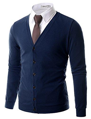 Doublju Mens Basic Button Down Soft V-Neck Cardigan NAVY,(US L) (La Made V Pocket Tee compare prices)
