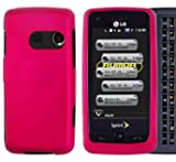 Pink Hard Plastic Rubberized Case Cover for LG Rumor Touch LN510 Banter