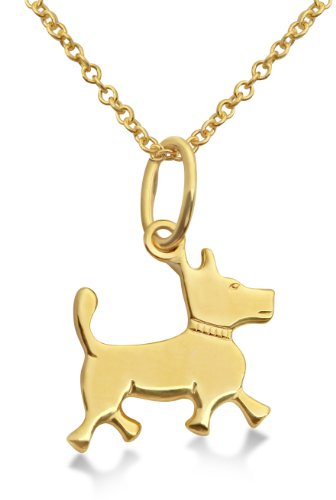 Children's Gold Necklace, 9ct Yellow Gold Dog Pendant, 36cm Chain, by Miore, MK908P