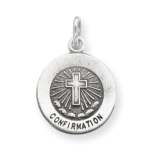 Sterling Silver Antiqued Confirmation Medal