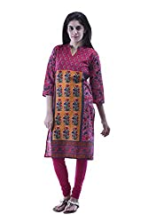 aarr 3/4th Sleeves Cotton Printed Floral Kurta For Women