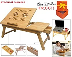 Everything Imported TM Best Multipurpose Laptop Table Durable Strong Solid Bamboo Wood Bed Tray Foldable, Wooden and Ventilated For Study / Reading / Eating / Craft-work Portable E-Table Computer PC Desk Free Ring Gift Box