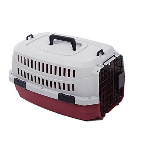 Favorite ® 23 Inch by 12.5 Inch by 13 Inch Portable Airline Approved Dog Crate/Pet Carrier/Outdoor Kennel for Medium Dogs/Cats Air Travel/Car Travel/Vet Visit in Red, for Pets up to 25 lbs