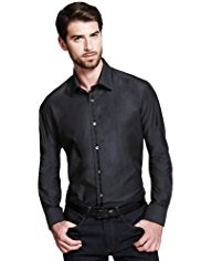 Autograph Luxury Pure Cotton Satin Tape Slim Fit Shirt
