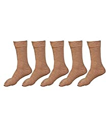 Alfa Ladies Woolly Thumb Socks - Pack Of 5 (Fawn Color)