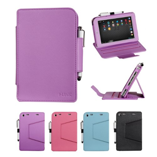 "I-Unik Monster M7 7"" Tablet Slim Folio Pu Leather Protection Case [Bonus Stylus] (Purple)"