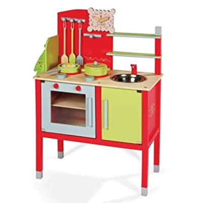 Janod Maxi Cooker With Utensils and Accessories: Childrens Wooden Cooker / Wooden Kitchen Suitable for Boys and Girls from 3 years +