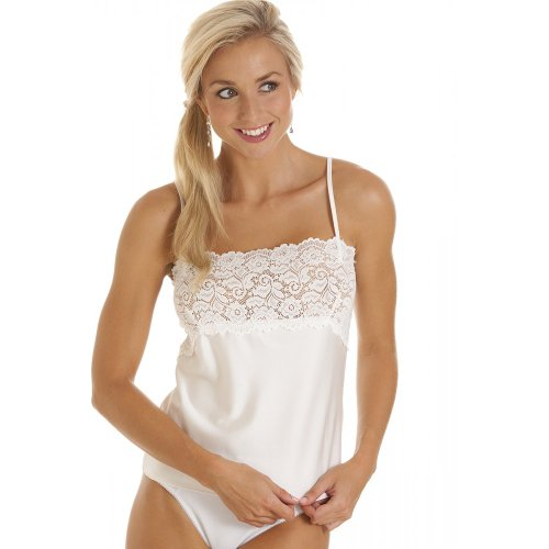 Camille Womens Ladies Luxury Ivory Camisole Lace Trim Vest Size 10-22 12