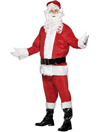 "Smiffys Men's Red/White Santa Costume, Velour - Chest 46""-48"""
