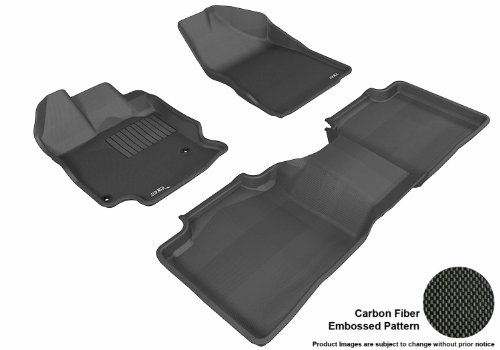 3D Maxpider Complete Set Custom Fit All-Weather Floor Mat For Select Toyota Venza Models - Kagu Rubber (Black)