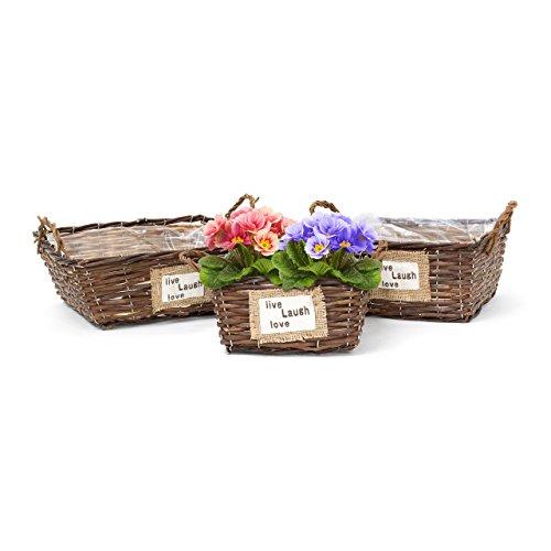 Relaxdays set de 3 cestas para plantas rectangular plano for Plantas decorativas amazon