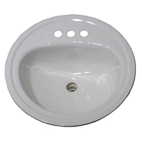 Crane Plumbing 1315V Galaxy 19-Inch Round Centerset Drop-In Lavatory, Porcelain Enameled Steel