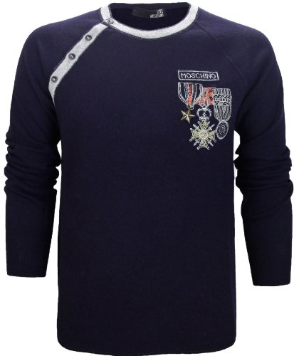 Moschino Men's Half Button Knitted Jumper Navy Blue (Medium)