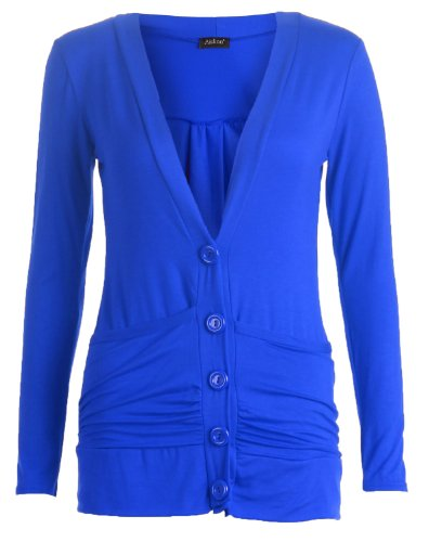 Womens Long Sleeve Boyfriend Buttoned And Pockets Cardigan