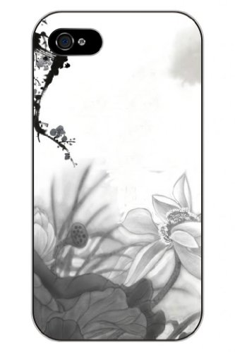 Sprawl New Fashion Design Hard Skin Case Cover Shell For Mobilephone Apple Iphone 4 4S--Sketch Of Lotus
