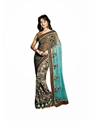 DEVKI FASHIONS DEVRU051006 Pure Georgette Black::Blue::White Designer Saree