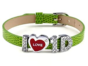 Fashion I Love One Direction I Love 1d Wristband Bracelet Slider Zircon Crystal Letter by Yiwu City Yinuo E-Commercial Business Co.,Ltd