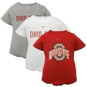 Nike Ohio State Buckeyes Newborn Infant Boy 3 Pack Creeper Set by Nike