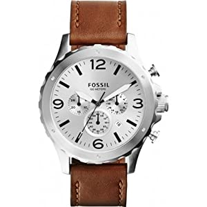 Fossil JR1473 Mens Nate Chronograph Eggshell Brown Watch