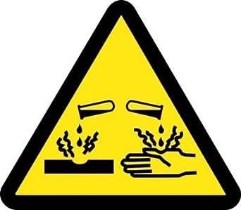 """ISO451AP Corrosivo / Ácido Hazard ISO Etiqueta con Gráfico, 2 """"Largo"""