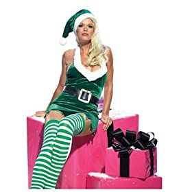 Miss Elf Holiday Sexy Party Outfit Christmas Xmas Holiday Womens Costume