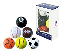 PGA T167 Novelty Fun Sports Golf Balls, Pack of 6