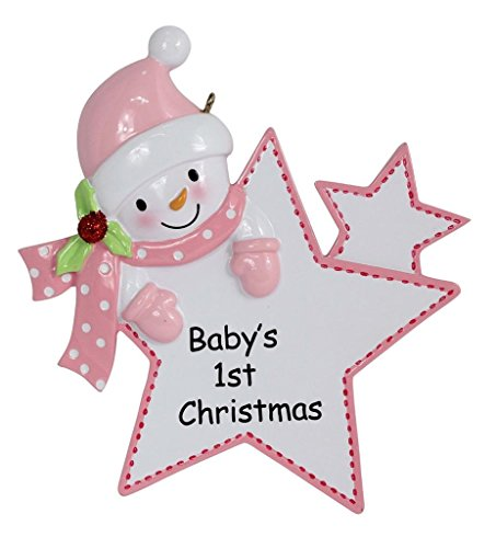 Baby's 1st Christmas Ornament Girl Star 2015 Personalized Gift