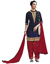 Surat Tex Navy Blue & Red Color Party Wear Embroidered Cotton Semi-Stitched Salwar Suit-I314DL6656