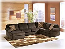 Big Sale Vista Chocolate Fabric Upholstery 3 Pc Sectional With Left Arm Facing Chaise