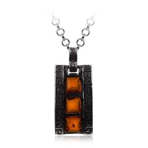 Sterling Silver Honey Amber Greek Ornament Pendant Necklace , 18