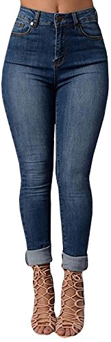 Chuanqi Women's Sexy High-waisted Skinny Blue Jeans Plus Size