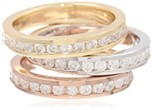 Rose Gold Plated, 18k Gold Plated and Sterling Silver Cubic-Zirconia Bezel Set Band Three Stackable Ring Set, Size 6