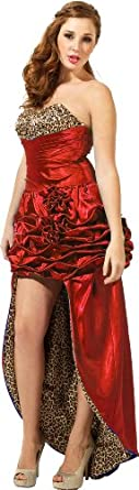 Vintage Pin-Up Style Beaded Satin High-Low Formal Prom Dress Pageant Gown, XS, Red