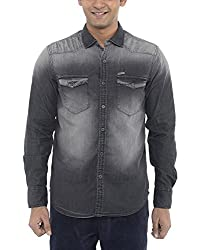 American Bull Men's Casual Shirt (ABSH6007, Black, Small)