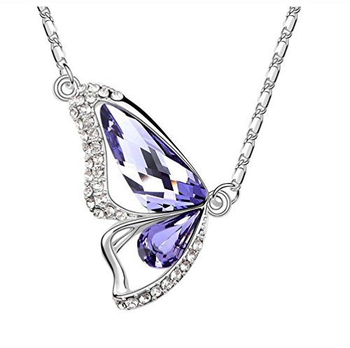 The Starry Night Purple Crystal Butterfly Lovers Diamond Accented Silver Plated 18